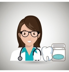 Nurse tooth stethoscope mouthwash vector