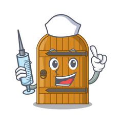 Nurse wooden door isolated on character cartoon vector