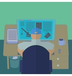 Office worker at his computer desk office section vector