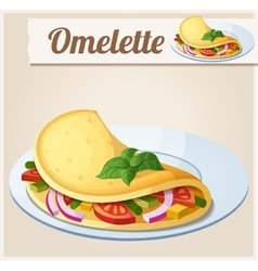 Omelette with vegetables Detailed Icon vector image