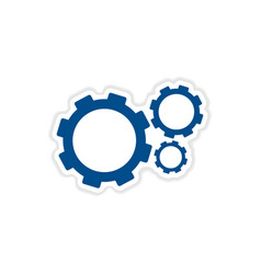 Paper sticker on white background gears vector