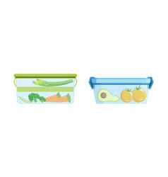 Plastic containers with food set lunch boxes vector