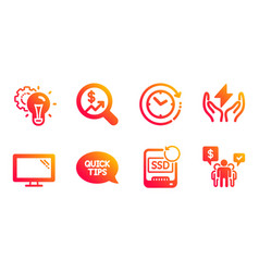 Quickstart guide recovery ssd and idea gear icons vector