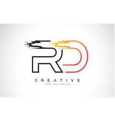 rd creative modern logo design with orange and vector image