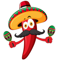red chili wearing hat and shaking maracas vector image