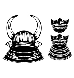 Samurai helmet with horns and mempo vector