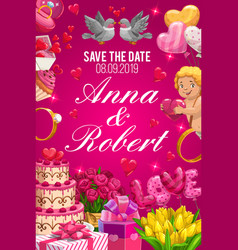 save date invitation on wedding party couple name vector image