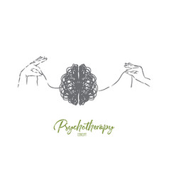 Scribble brain hands untangling mind thread vector