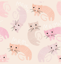 seamless childish pattern with cute cats creative vector image