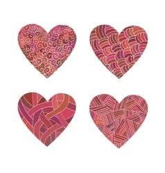 Set doodle pink hearts vector