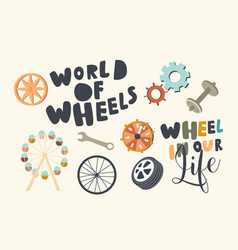 set icons wheels in human life theme ferris vector image