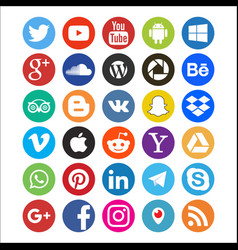 Set of colored icons of social networks web vector