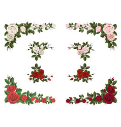Set of corner bouquet roses different color vector