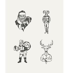Set of drawn Santa Claus and deer vector image