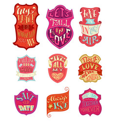 set of handwritten love lettering in badges vector image