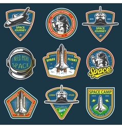 Set vintage space and astronaut badges vector