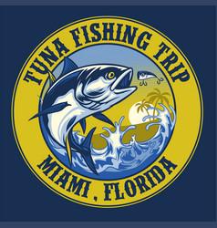 shirt design tuna fishing vector image