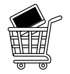 shopping cart online computer digital black screen vector image