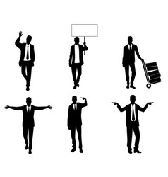 silhouettes of businessmen in action vector image