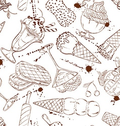 Sketch seamless pattern of ice cream vector image