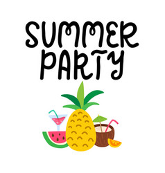 Summer party hand written lettering hand drawn vector