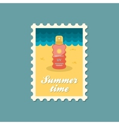 Sun Cream in Spray flat stamp vector