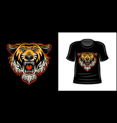 t-shirt print with orange colored tiger head vector image
