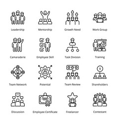 Teamwork outline icons vector