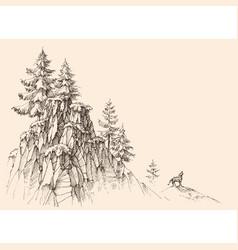 Top mountains landscape alpine rocky vector