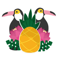toucan flowers and pineapples tropical summer vector image