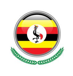 uganda flag button uganda flag icon of uganda vector image