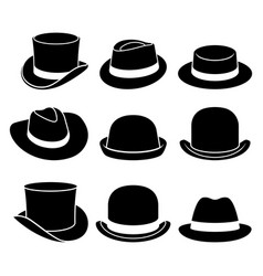 Vintage hats icons vector