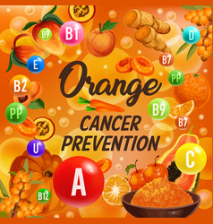 Vitamin a b and c color orange diet fruits poster vector