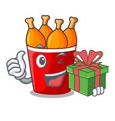 With gift fried chicken in big cartoon bucket box vector
