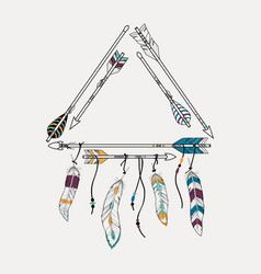 with tribal frame with ethnic arrows and feathers vector image