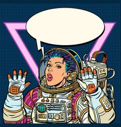 Woman astronaut girls 80s vector