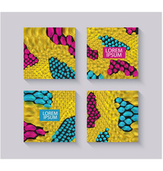 yellow snake skin textured square templates set vector image
