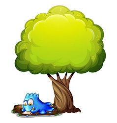 A blue monster writing a letter under the tree vector image vector image