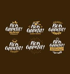 bon appetit lettering restaurant label set vector image