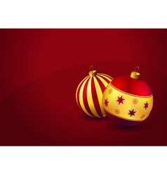 Christmas baubles on red background vector image