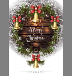 Christmas frame with hoar bells branches pine nee vector image