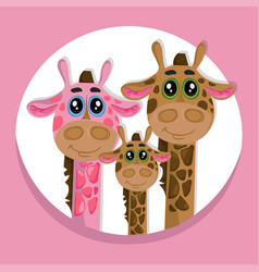 Cute giraffes family cartoon icon vector