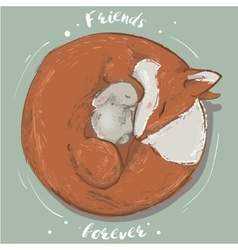 cute hare and fox vector image vector image