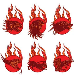 Fire Animal Emblems vector image