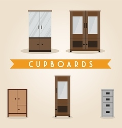 Furniture set cupboards vector image vector image