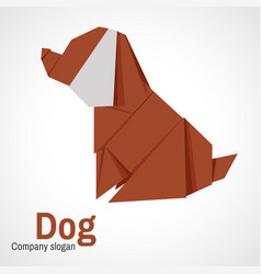logo origami dog vector image vector image
