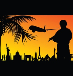 man in uniform with famous monument vector image vector image