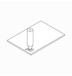 Pencil and paper icon isometric 3d style vector