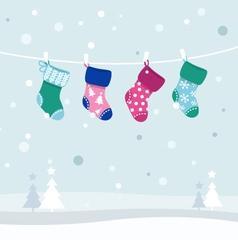 retro christmas stockings vector image vector image