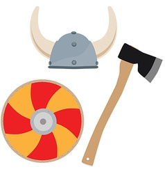 Viking hat shield and axe vector image vector image